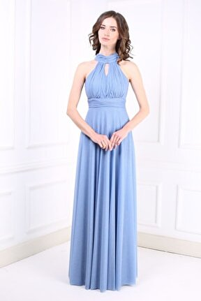 Kadın İndigo Uzun Abiye Elbise TR6646