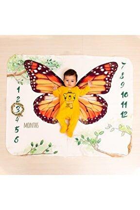 Kelebek Tasarımlı Yeni Doğum Hediyesi Bebek Fotoğraf Battaniyesi