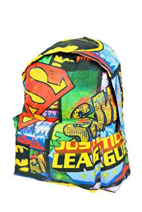 Justice League Genç Sırt Çantası (İki Gözlü - 43X33X19 Cm) /