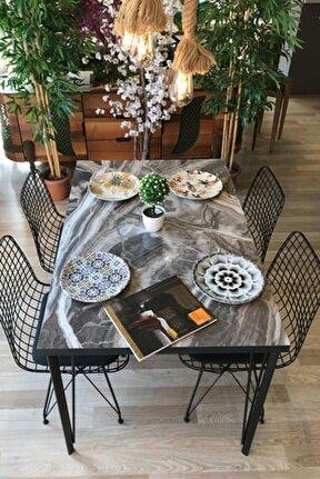 Taş Mermer Desenli 120 cm Masa Takımı Dört Sandalye
