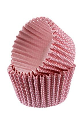 Cupcake Kalıbı Pet Kapsül  Kek Kalıbı48x34 Mm (100 Adet)  Pembe Küçük Puanlı