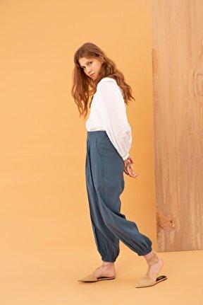 Kadın Açık Indigo Pileli Paça Lastikli Pantolon