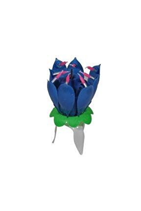 Doğum Günü Mumu Müzikli Açılır (çiçek Mum)  Mavi