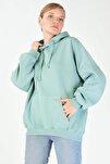 Kadın Mint Kapşonlu Sweatshirt S0519 - H7 ADX-0000014040