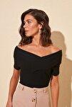Siyah Carmen Yaka Fitilli Örme Bluz TWOSS19FV0085