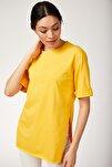 Kadın Koyu Sarı Yandan Yırtmaçlı Penye Tshirt DD00510