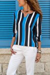 Kadın Siyah-Saks Yakası Yırtmaçlı Çizgili Krep Bluz GK-BST2841