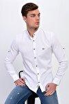 Erkek Beyaz Hakim Yaka Çıtçıtlı Slim Fit Likralı Gömlek