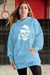 Wear Pippolu Şapkalı Iskelet Adam Mavi Elbise Sweatshirt Tunik