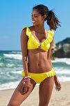 Kadın Fırfır Detaylı Bikini  Alt 209202 Sarı