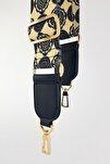 Haleh Siyah Deri Kare Uç Detaylı Etnik Desenli Çanta Askısı Gold Metal
