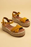 Hakiki Süet Sarı Kadın Sandalet