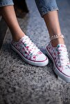 Kadın Beyaz Çiçek Desenli Spor Ayakkabı