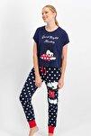 Kadın Mickey Mouse Lisanslı Lacivert Pijama Takımı