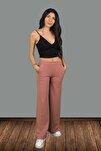 Kadın Pembe Beli Lastikli Bol Paça Pantolon