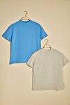 Gri ve Saks Dik Yaka 2'li Paket Basic Örme Tshirt T-Shirt TWOSS20TS1500