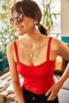 Kadın Kırmızı Fırfırlı Yazlık Bel Üstü Triko Bluz BLZ-19000882