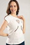 Kadın Simli Fil Kabartmalı Tişört Y20s150-1053