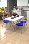 Eylül Silver 4 Kişilik Mutfak Masası Takımı Beyaz Lacivert