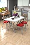Eylül Silver 4 Kişilik Mutfak Masası Takımı Beyaz Kırmızı