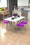 Eylül Silver 4 Kişilik Mutfak Masası Takımı Beyaz Mor