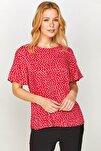 Kadın Kırmızı Puantiyeli Saten Bluz 60164 U60164