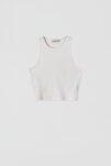 Kadın Beyaz Fitilli Kolsuz Crop Top 05236344