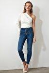 Mavi Önden Düğmeli Yüksek Bel Skinny Jeans TWOAW20JE0342