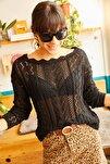 Kadın Siyah Kayık Yaka Baharlık Triko Bluz BLZ-19001070