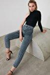 Antrasit Yıkamalı Yüksek Bel Mom Jeans TWOAW20JE0180
