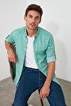 Yeşil Erkek Gömlek Yaka Fileto Cepli Apoletli Slim Fit  Gömlek TMNSS20GO0123