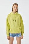 Kadın Fıstık Yeşili Basic Oversize Kapüşonlu Sweatshirt 05596380
