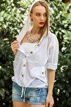 Kadın Beyaz Casual Kapüşonlu Düğmeli Beli Ip Detaylı Büzgülü Yıkmalı Ceket M10210100Ce99339