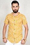 Erkek Hardal Sarısı Çizgili Kısa Kol Gömlek 2002806