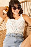 Kadın Ekru Ajurlu Çiçek Nakışlı Askılı Crop Top Bluz 10101026