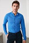 Mavi Erkek Hakim Yaka Pike Örme Uzun kollu Gömlek TMNSS20GO0293