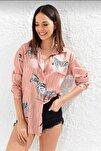 Kadın Pembe Empirme Saten Gömlek