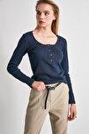 Lacivert Çıtçıtlı Fitilli Örme Bluz TWOSS20BZ0683