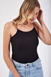 Kadın Siyah İp Askılı Örme Body Bluz LD00018