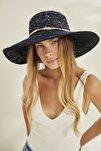 Kadın Merserize Hasır Şapka T2740-08 Lacivert