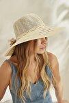 Kadın Merserize Hasır Şapka T2740-08 Ekru