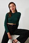 Yeşil Büzgülü Crop Örme Bluz TWOAW20BZ0505