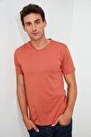 Kiremit Basıc Erkek T-Shirt - Pamuklu V Yaka T-Shirt TMNSS19BO0002