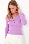 Kadın Lila Çıtçıtlı Kaşkorse Bluz MDS-345-BLZ