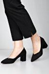 Siyah Süet Kadın Klasik Topuklu Ayakkabı 38918