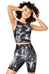 Siyah Kadın Desenli Crop Body Hs-8799