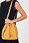 Sarı Kadın  Büzgülü Fermuar Detaylı Kol Çantası 10VA2055