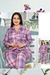 Kadın Mor Düğmeli Battal Pijama Takım