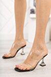 Kadın Siyah Şeffaf Bant Topuklu Ayakkabı