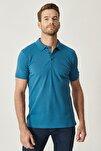 Erkek Havacı Mavi Polo Yaka Cepsiz Slim Fit Dar Kesim %100 Koton Düz Tişört